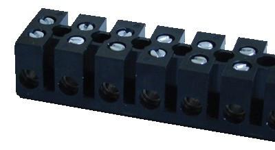 Dvoredna bakelitna vrstna sponka 6A/400V, 12 členov, M3, max. 2,5 mm2