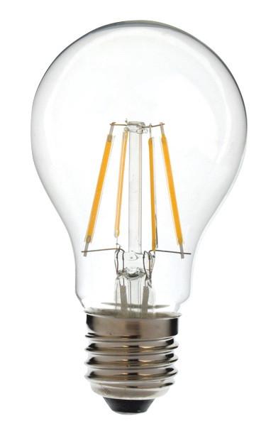 COG LED žarnica-okrogla-prozorno steklo 230 VAC, E27, 4 W, 400 lm, A60, 3000K