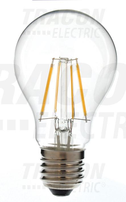 COG LED žarnica, okrogla, prozorno steklo 230 VAC, 6 W, 2700 K, E27, 550 lm, 300°, A60