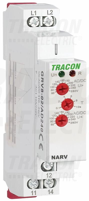 Kontrolni rele napetosti za 1F AC/DC 110-240V, U> U< = 65-260V, t=0,1-10s