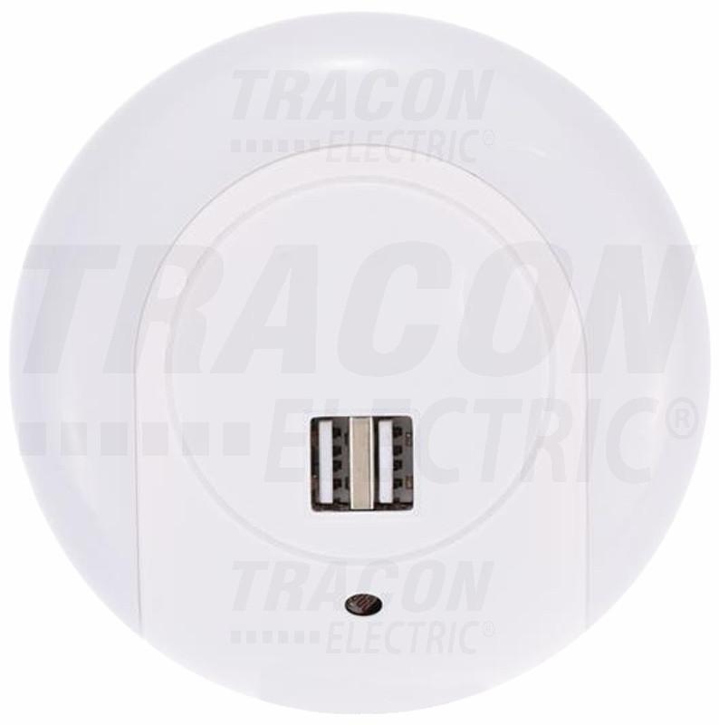 Nočna svetilka za vtičnico s senzorjem + USB port 230VAC, 50Hz, 1W, 1A/2A