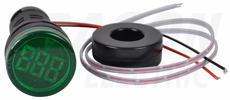 Ampermeter z LED signalno svetilko, zeleni 1-100A, d=22mm