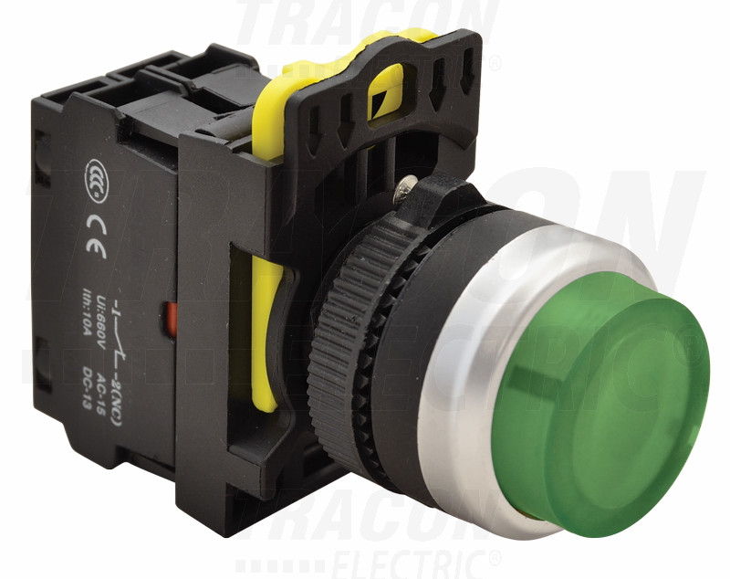 Svetleče tipkalo, izbočeno, zeleno 1×NO, 5A/230V AC-15, IP65, LED 230V AC/DC