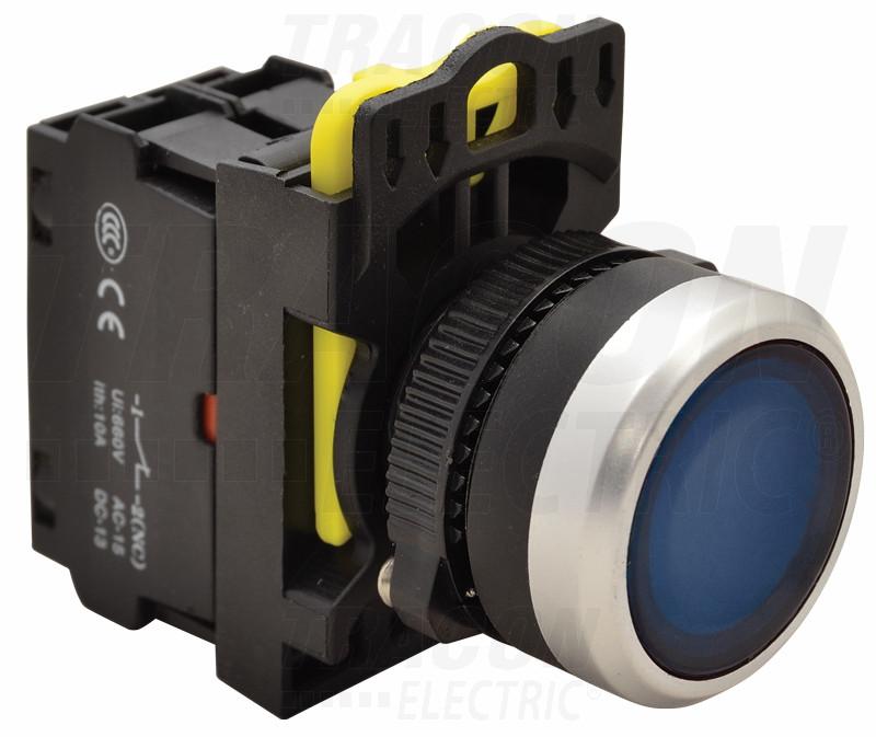 Svetleče tipkalo, modro 1×NO, 5A/230V AC-15, IP65, LED 230V AC/DC