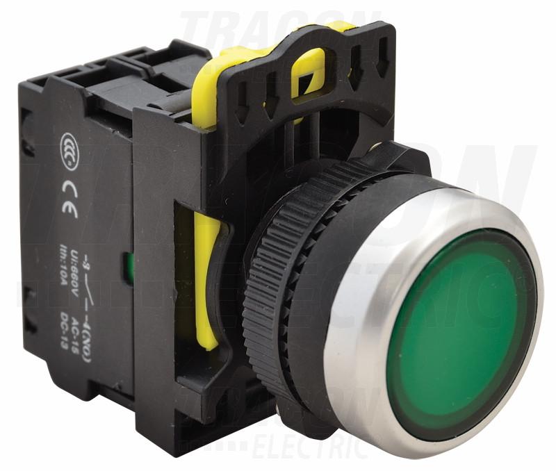 Svetleče tipkalo, zeleno 1×NO, 5A/230V AC-15, IP65, LED 230V AC/DC