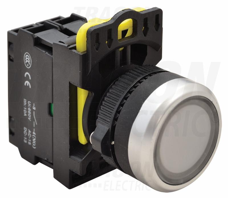 Svetleče tipkalo, belo 1×NO, 5A/230V AC-15, IP65, LED 230V AC/DC