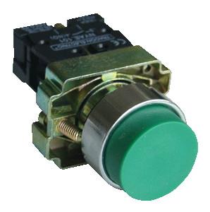 Tipka izbočena z ohišjem, zelena, 1×NO, 3A/240V AC, IP44