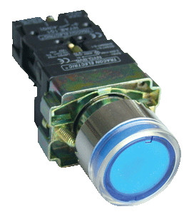 Svetilna tipka, modra, glim, 1×NO, 3A/400V AC, 230V, IP42
