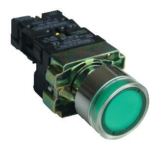 Svetilna tipka, zelena, glim, 1×NO, 3A/400V AC, 230V, IP42