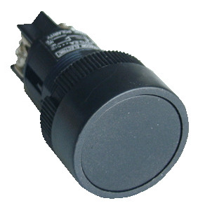 Plastična tipka, črna, 1Z, 22mm, 400V/0,4A, IP42