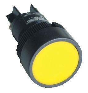 Plastična tipka z ohišjem, rumena 1Z 22mm, 400V/0,4A, IP44