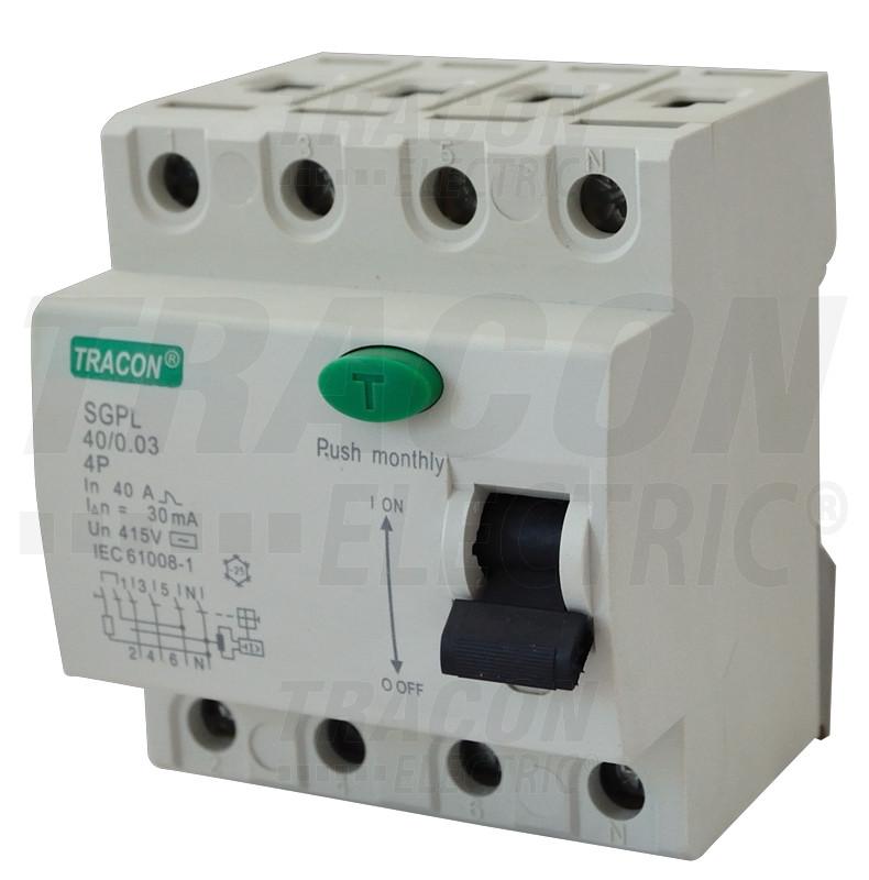 Tokovno zaščitno stikalo, 4 polni 25A, 100mA, 4,5 kA, AC, 4P