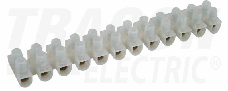 Dvoredna vrstna sponka s potisno ploščo, bela, PP, 12 členov, 16 mm2