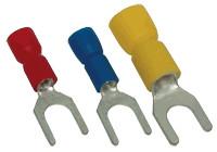 Viličasti kabelski čevelj 6 mm2, d1=3,4 mm, d2=4,3 mm, rumen