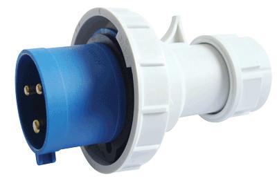 Industrijski vtikač 32A, 250V, 2P+E, IP67 s povečano zaščito