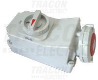 Industrijska vtičnica, nadometna + stikalo z mehansko zaporo 16A, 230V, 2P+E, 6h, IP67
