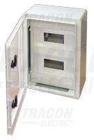 Plastična razdelilna omara z masko, prozorna vrata 2×9mod, L×W×H=330×250×130mm, IP65, IK08, 1000V AC/DC