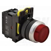 Svetleče tipkalo, izbočeno, rdeče 1×NC, 5A/230V AC-15, IP65, LED 230V AC/DC