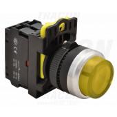Svetleče tipkalo, izbočeno, rumeno 1×NO, 5A/230V AC-15, IP65, LED 230V AC/DC