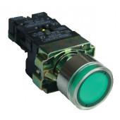 Svetilna tipka, zelena, z dušilko, glim, 1×NO, 3A/230V AC, 130V, IP42