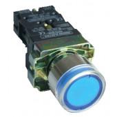 Svetilna tipka z ohišjem, modra, glim, 1×NO, 3A/400V AC, 230V, IP44