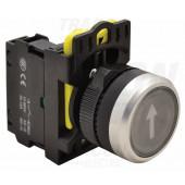 Označeno pritisno stikalo, črno, (bela puščica) 1×NO, 5A/230V AC-15, IP65