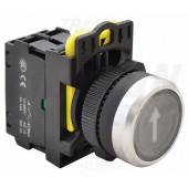 Označeno svetleče pritisno stikalo, črno, (bela puščica) 1×NO, 5A/230V AC-15, IP65, LED 230V AC/DC
