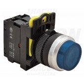 Svetleče tipkalo, izbočeno, modro 1×NO, 5A/230V AC-15, IP65, LED 230V AC/DC