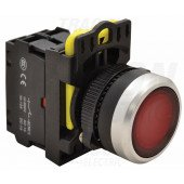 Svetleče tipkalo, rdeče 1×NC, 5A/230V AC-15, IP65, LED 230V AC/DC
