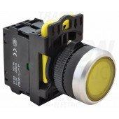 Svetleče tipkalo, rumeno 1×NO, 5A/230V AC-15, IP65, LED 230V AC/DC