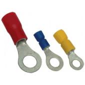 Očesni kabelski čevelj 6mm2, d1=3,4 mm, d2=6,5 mm, rumen