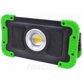 Montažni LED reflektor z akumulatorjem in Bluetooth zvočnikom 15W, 6000K, 3,7V, 8000mAh, Li-Ion, 1500lm, 4-10 h, IP40