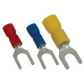 Viličasti kabelski čevelj 6 mm2, d1=3,4 mm, d2=6,4 mm, rumen