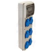 Priključna omarica z zaščito Prot.: RCCB, MCB, Out: 6×SCHUKO