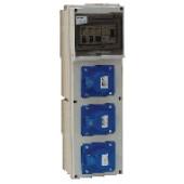 Industrijska priključna omarica brez zaščite 3×(16A,2P+E) CEE