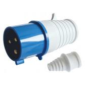 Industrijski vtikač 32A, 250V, 2P+E, IP44 z zaščito pred prelomom kabla