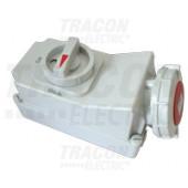 Industrijska vtičnica, nadometna + stikalo z mehansko zaporo 16A, 400V, 3P+N+E, 6h, IP67