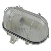 Ladijska svetilka s kovinsko mrežo, plastična, 230 V, E27, max. 60 W, IP44, bela