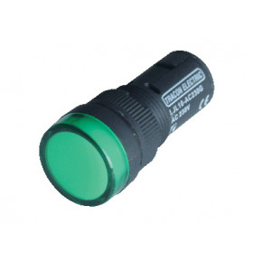 LED signalna svetilka, 16 mm, 230V DC, zelena