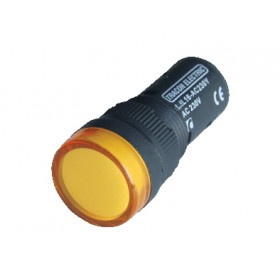 LED signalna svetilka, 16 mm, 12V AC/DC, rumena