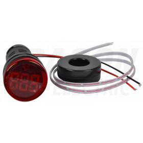 Ampermeter z LED signalno svetilko, rdeči 1-100A, d=22mm