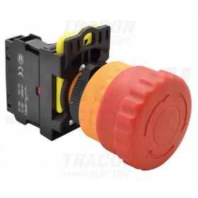 Zasilno tipkalo, svetleče, rastersko, rdeče 1×NC, 5A/230V AC-15, IP65