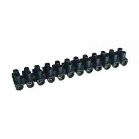 """Dvoredna vrstna sponka 16 mm2, 63A, """"U"""", 12 členov, PE, črna"""