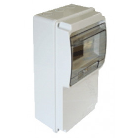 Priključna omarica - prazna, z montažnim tirom, ABS, L×W×H=230×130×77mm, IP55, 6 modul