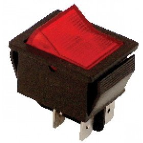 Ročno stikalo, svetilno, ON-OF rdeče, 2P rastersko, 250V AC, 16(6)A