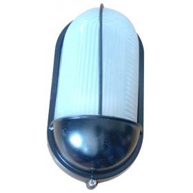 Ladijska svetilka, pokrita, ovalna, 230V, E27, max. 60W, IP44, črna