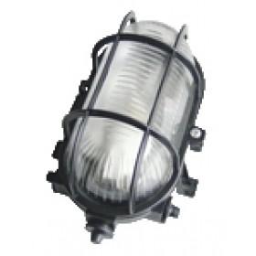 Ladijska svetilka, z mrežo, ovalna, plastična, 230V, E27, max. 60W, IP44, črna
