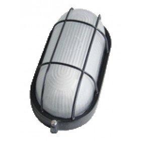 Ladijska svetilka, z mrežo, ovalna, mlečno steklo, kovinska, 230V, E27, max. 60W, IP44, črna