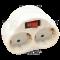 Priključni adapter s stikalom, beli 250 VAC 16 A 2×SCHUKO, max. 3680 W