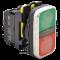 Svetleče dvojno tipkalo ON-OFF, zeleno+rdeče 1×NO+1×NC, 5A/230V AC-15, IP40, LED 230V AC/DC